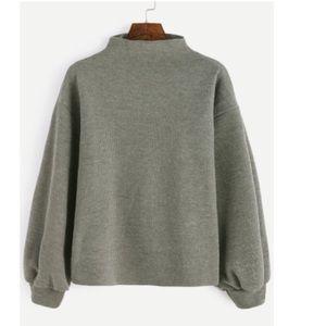 shein Sweaters - Shein Army green ribbed lantern sleeve sweater
