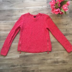 TalbotsPink Chunky Knit pullover Sweater Zippers
