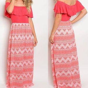 🆕 Coral Tribal Off Shoulder Maxi print Dress