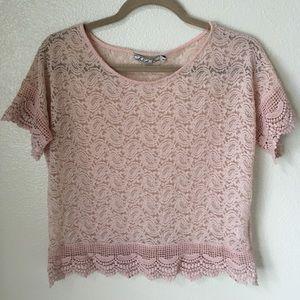 Chloe K Tops - Chloe K Blush Sheer Crochet Lace Top