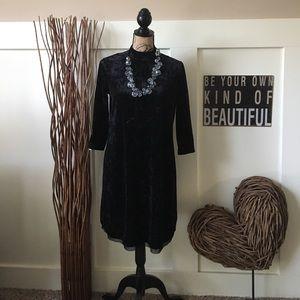 Vera Wang black crushed velvet dress