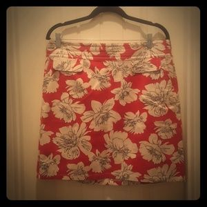 ANN TAYLOR Floral Pink Skirt with Pockets