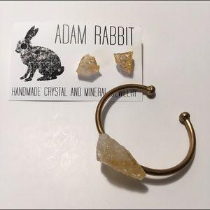 Raw Citrine earrings and Bangle set