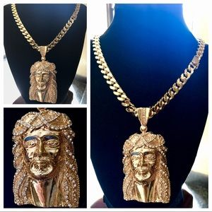 "Other - 14K Gold Plated Cuban (30"" x 14MM) w/ LRG Jesus"