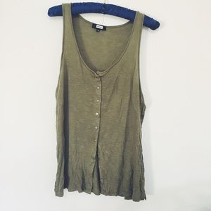 Army Green Buttoned Tank Top