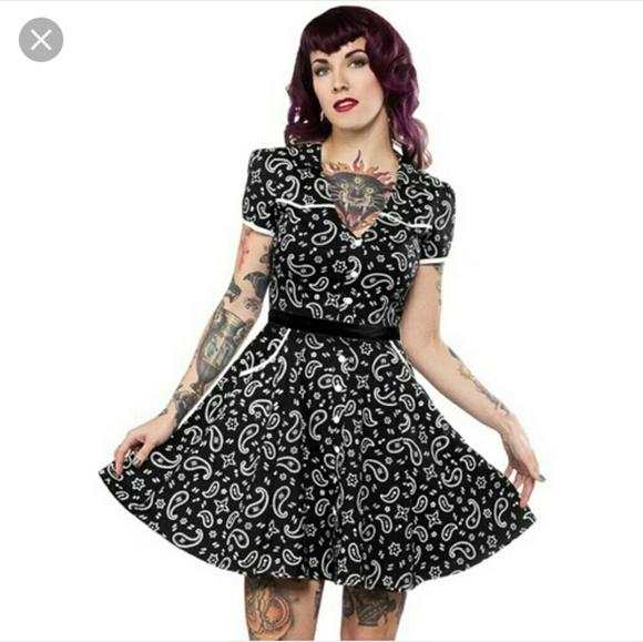 45b4cf28cb1 NWT Black Bandana print Hellbilly pinup dress XL