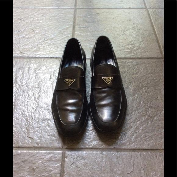 d7b10b8ca7 Prada men's black triangle logo loafers size 8 eur.  M_594318034225bec250007f68