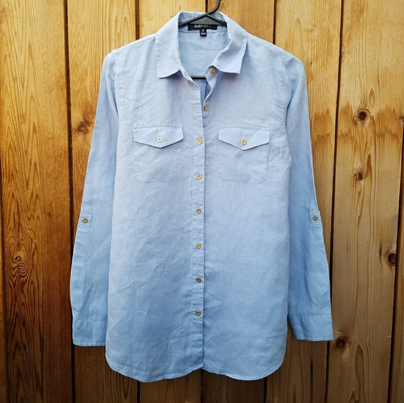 Ellen Tracy Ellen Tracy Linen Blue Button Down From