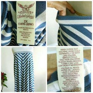 Faded Glory Skirts - Heather Gray & Blue Maxi Skirt (2-3XL)