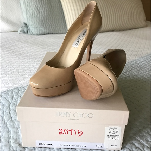 85b8bb08ed7 Jimmy Choo Shoes | Cosmic Patent Leather Nude 65 | Poshmark