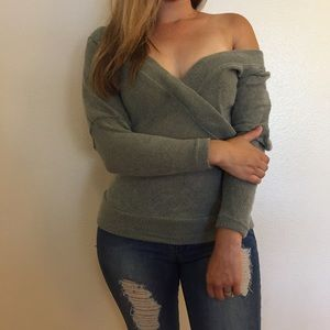 Sweaters - Heather Grey Knit Off The Shoulder Sweater