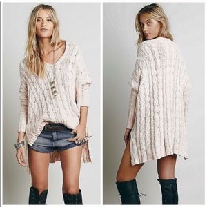 NWT Free People Oversized Knit Champagne Sweater