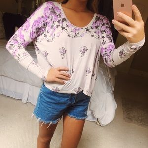 free people purple floral top