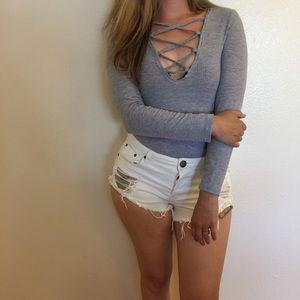 Heather Grey Plunge Criss Cross Bodysuit