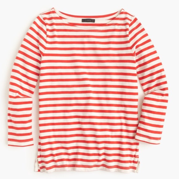 67 Off J Crew Tops J Crew Striped Boat Neck Shirt In