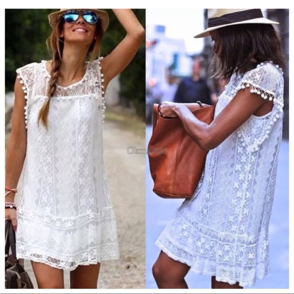 3e9f9dd95f White Lace Summer Dress Beach Cover Up