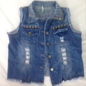 36 Point 5 Other - Studded distressed small battle vest jean jacket