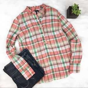 J. Crew Tops - J.Crew Ruffle Popover Shirt in Melon Plaid