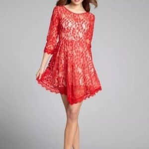 Free People red lace dress 3/4 sleeves