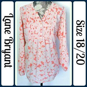 Lane Bryant Tops - Sz 18/20 Floral Peach Peasant Tunic