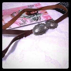 VINTAGE Silver Buckle Boho Leather Belt