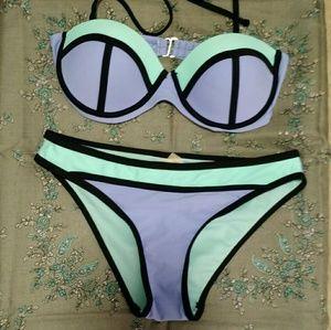 Apollo Swim Other - Apollo Swim Coral Tropics Purple/Teal Bikini Set