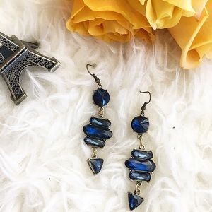 Jewelry - Summer Blues statement earrings rhinestone blue