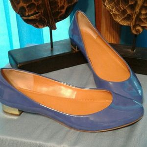 J. Crew Blue Patent Leather Flats