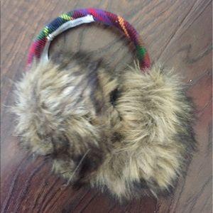 Fur Ear Muffs with Plaid
