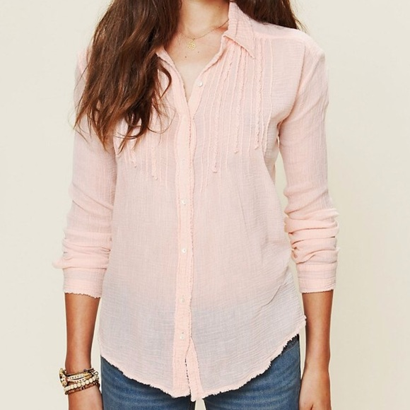 24 off free people tops free people raw edge gauze for Gauze button down shirt