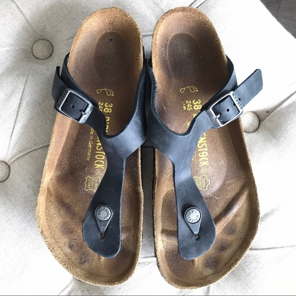 f865fd422c14 Birkenstock Shoes - Birkenstock Gizeh Black Oiled Leather Sandals 38