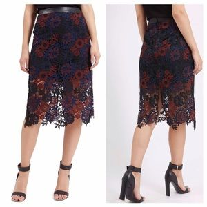Topshop Lace Overlay Pencil Skirt