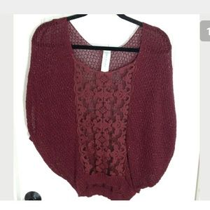 Free People Sweater Lightweight Burgundy Sparkle
