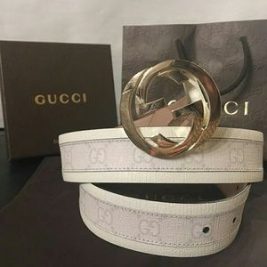 Gucci Other - New Gucci White Monogram with gold buckle