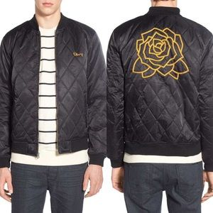 Obey NWT Quilted Bomber Jacket Rose Embroidery XXL