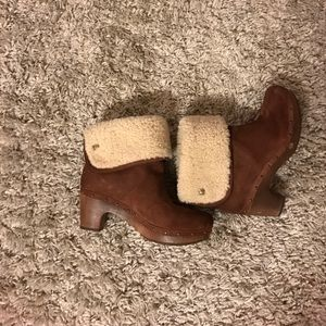 UGG Shoes - UGG fold over Heel Boots in Brown