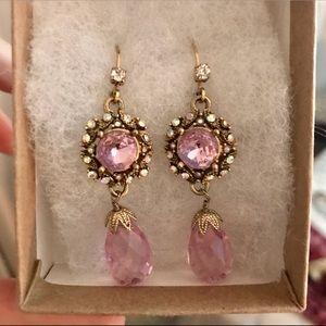 Jewelry - Gold, diamond & pink earrings