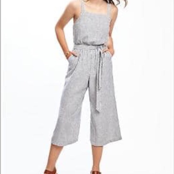 f0790b366b5d Old Navy striped linen Jumpsuit with tie