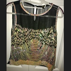 Tops - Mesh black sequence top