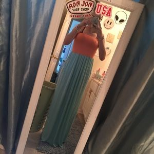 Always For Me Dresses & Skirts - strapless blue and orange maxi dress