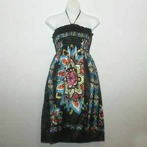 Dresses & Skirts - Satin Halter/Strapless Black Colorful Design Dress