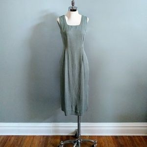 vintage 90's green minimalist midi sheath dress
