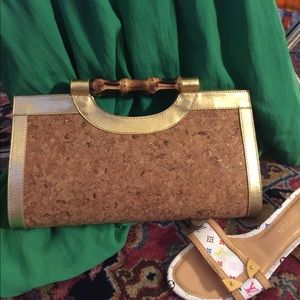 Stunning HOBO Clutch in Piper Gold, Bamboo Handle