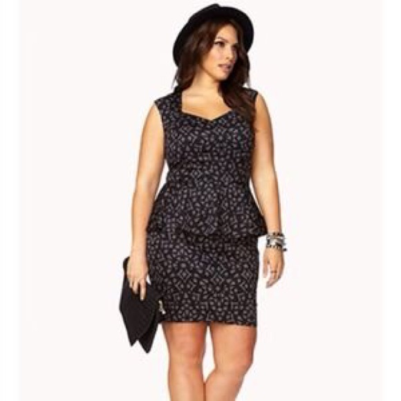 Black & gray peplum dress plus size
