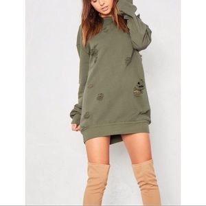 Olive Distressed Sweater Dress