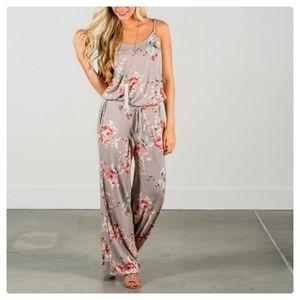 Pants - 🎈FINAL  (FIRM): Tan Printed Floral Jumpsuit