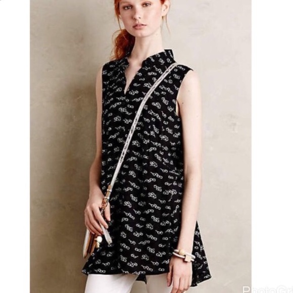 6386684cdf21 Anthropologie Tops - Anthropologie 11.1 TYLHO percy glasses print tunic