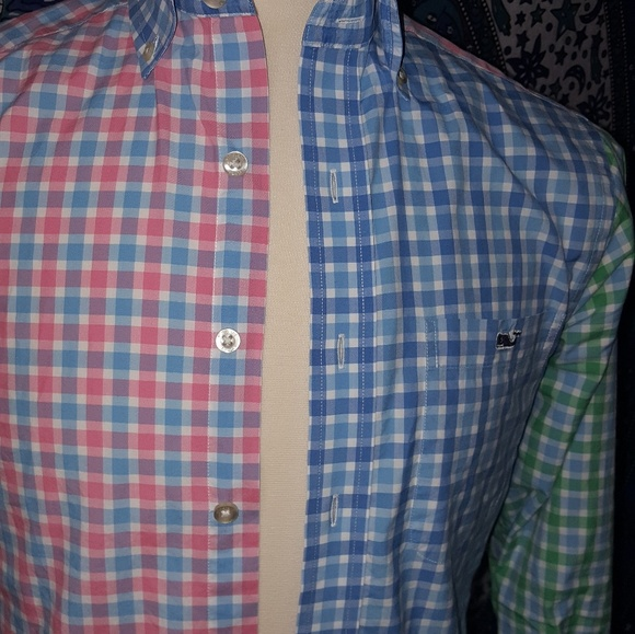 54 off vineyard vines other vineyard vines blue red for Red and green checked shirt