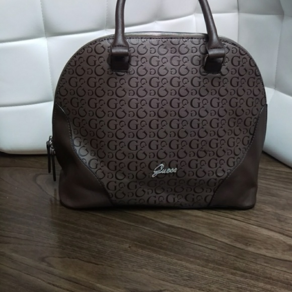 GUESS Dome Brown Satchel With G Print