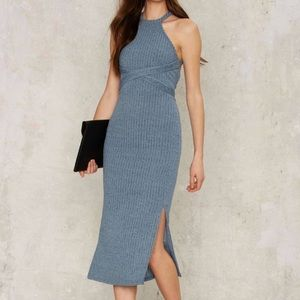 Lavish Alice Dresses & Skirts - Blue Ribbed Wrap Dress